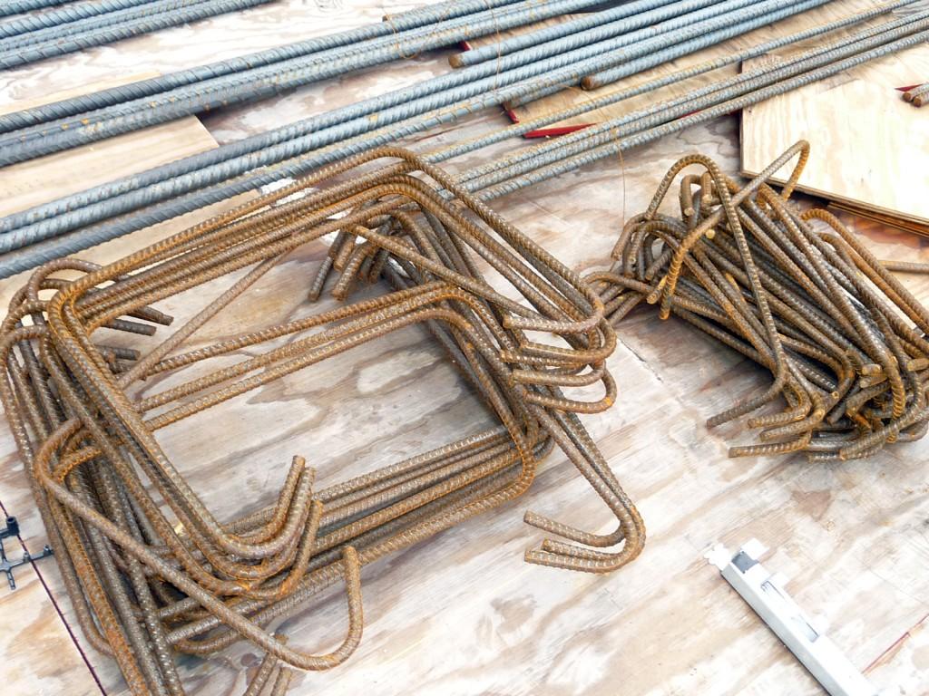 Bent rebar before being assembled