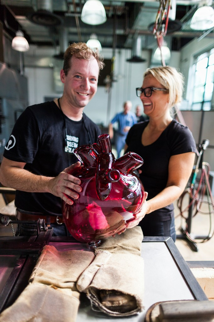 GlassLab designer Sigga Heimis and Museum glassmaker Eric Meek created an oversized glass heart for an upcoming show in Stockholm