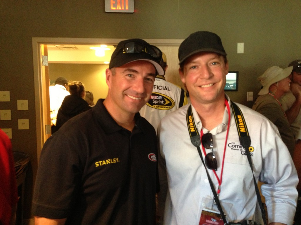 Marcos Ambrose and Museum glassmaker Eric Meek.