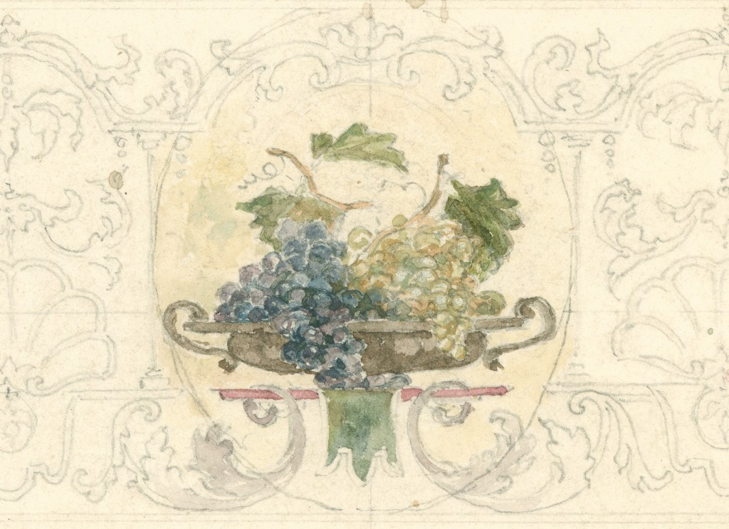 Fruit and shells by John La Farge (1835-1910), 1882-1885. Watercolor and pencil on paper; 39 x 43 cm. Bib ID 112382.