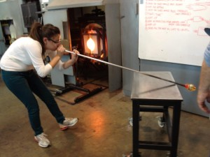 Blowing glass at The Studio