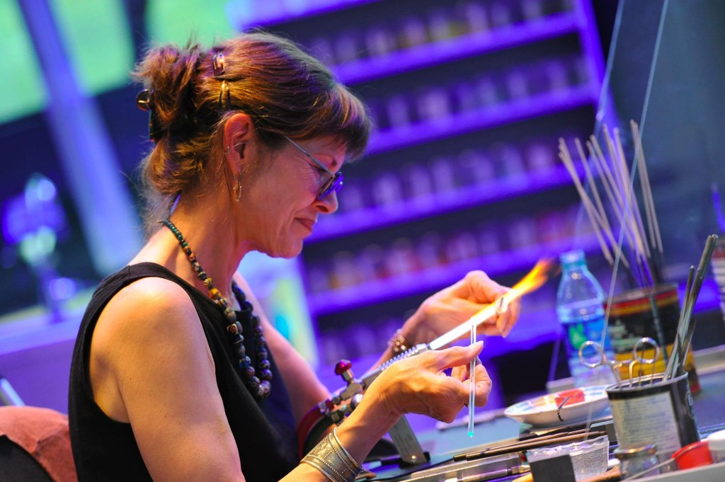 Kate Fowle Meleney does a flameworking demonstration at The Corning Museum of Glass