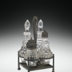 "Castor Set in ""Honeycomb"" Pattern, 1840-1870 (United States) Pressed glass; pewter Gift of M. Scott Mampe 2012.4.156"