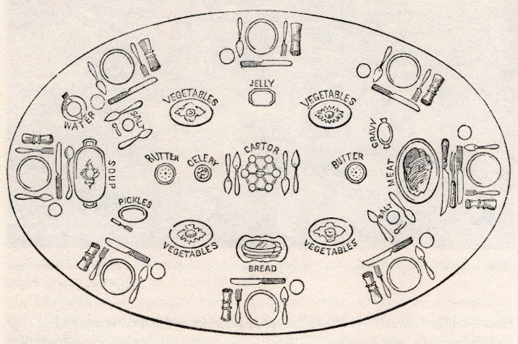 Suggested table setting illustrated in Godey's Lady's Book, March, 1859