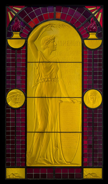 "Carder War Memorial Window showing a maiden ""Victory"" holding a shield on which is listed the names of Corning, NY, men who lost their lives in World War I, including Cyril Carder, Frederick Carder's son. Steuben Glass, Corning NY, 1930. City of Corning."