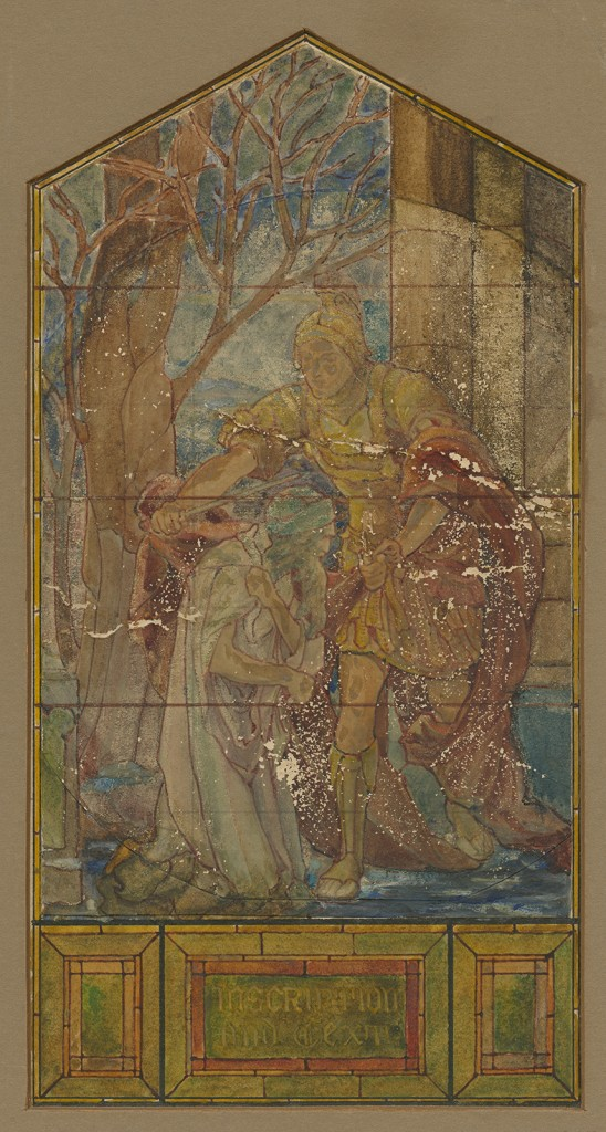 Suggestion for window: Mrs. Belle H. Kaufmann. Tiffany Studios, New York, NY, 1900-1910. 1 art original : watercolor, ink, and pencil on paper and board ; 45 x 33 cm. CMGL 134732.