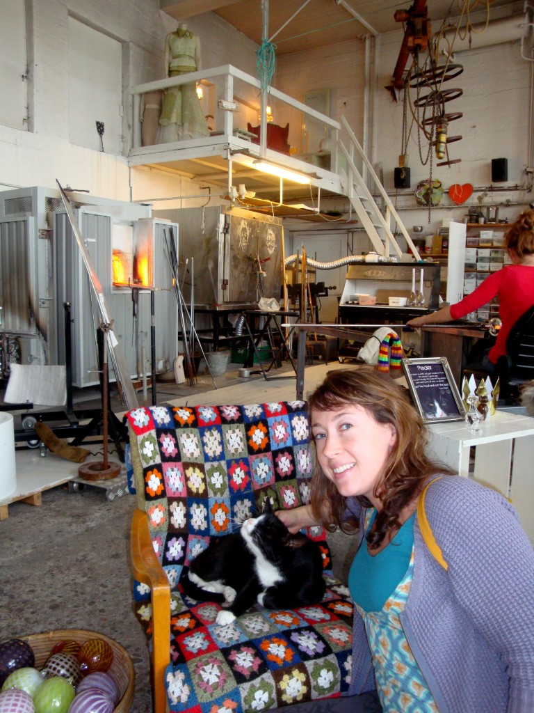 Ingrid's studio in Alesund. Kitties and glassblowing!