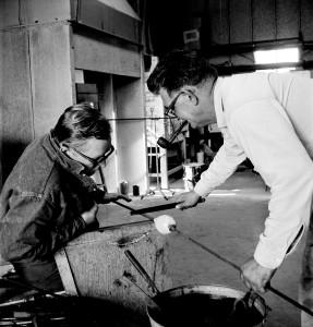 Dominick Labino Working in His Studio Photographed by Robert C. Florian, 1960's Gift of Robert C. Florian