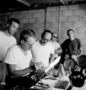 Harvey Littleton watching flameworking demonstration Studio Glass Workshop, Toledo Museum of Art Photographed by Robert C. Florian, June 1962 Gift of Robert C. Florian