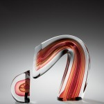 Harvey Littleton, Red/Amber Sliced Descending Form, 1984 (collection of The Corning Museum of Glass, 2007.4.168, gift of the Ben W. Heineman Sr. Family)