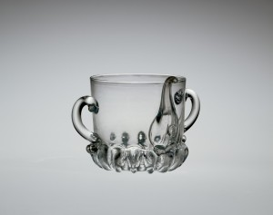 Posset Pot with Raven's Head Seal 19th Century European Savoy Glasshouse; Ravenscroft, George England, London About 1676-1677 79.2.74 Bequest of Jerome Strauss On Display in the European Gallery