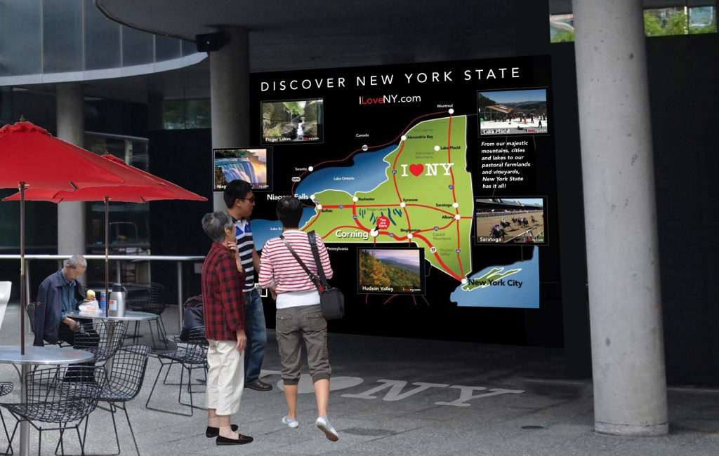 Large-scale maps and regional wayfinding will inform international visitors about New York State