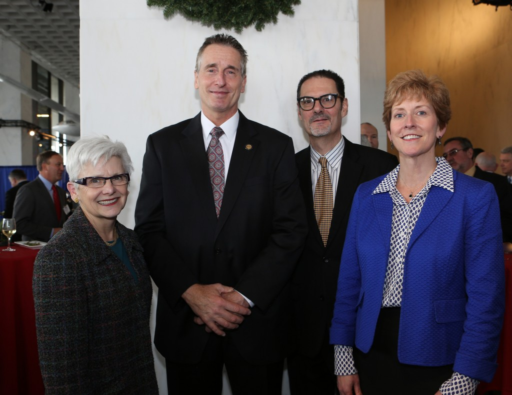 Marie McKee, Museum president; Lt. Governor Robert Duffy; Rob Cassetti, senior director of creative services; and Beth Duane, director of marketing and community relations at the REDC Awards in Albany