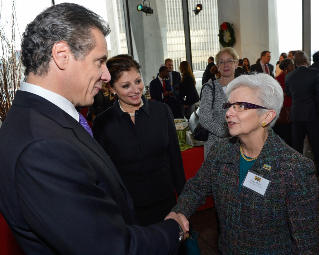 Governor Andrew M. Cuomo and Marie McKee, president of The Corning Museum of Glass at the REDC Awards in Albany