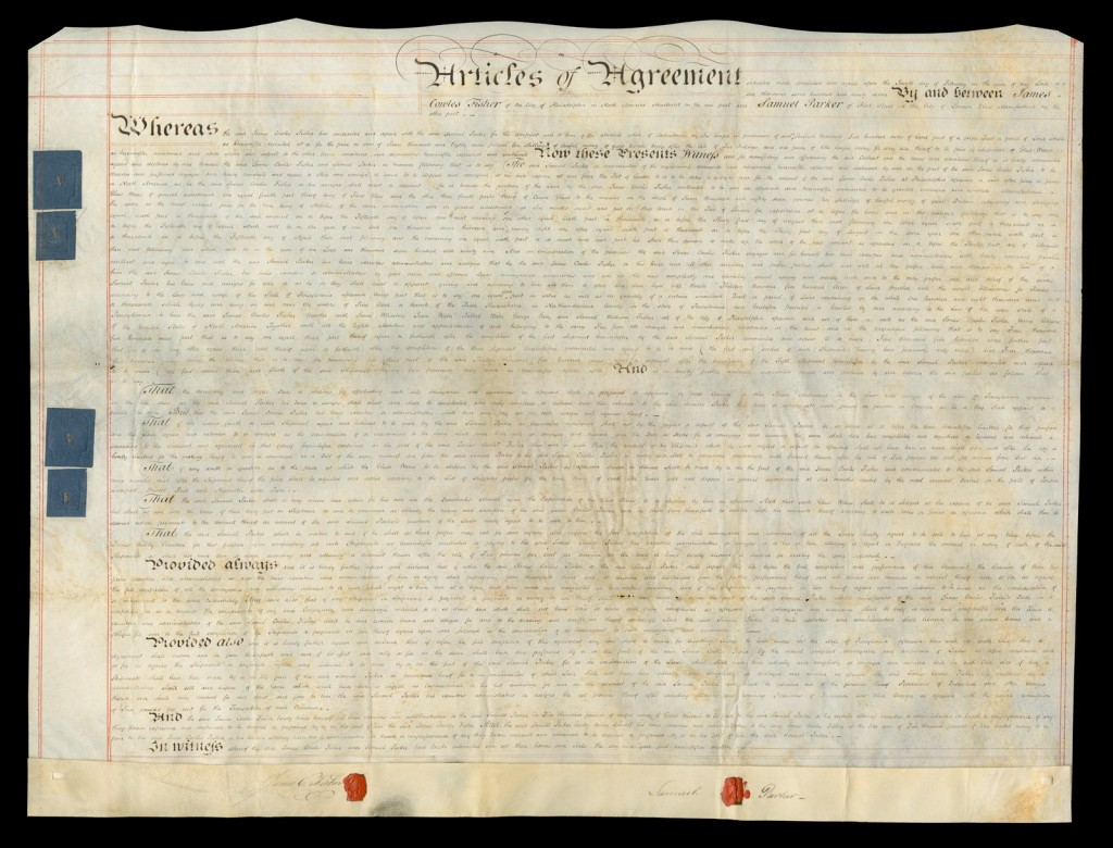 A photo of the Land Indenture after conservation. Note Parker and Fisher's seals in red at the bottom of the document[Land indenture between English glass manufacturer Samuel Parker and Philadelphia merchant James Cowles Fisher]. CMGL 133977