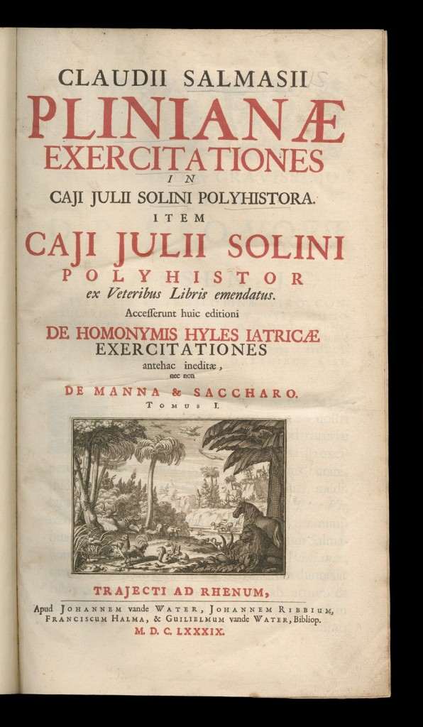 Front page of Plinianae exercitationes in Caji Julii Solini Polyhistora, written by Claudius Salmasius. CMGL 136005