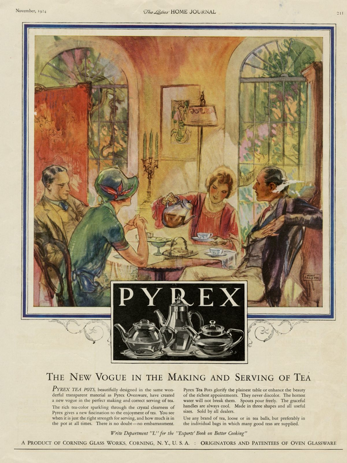 """The New Vogue in the Making and Serving of Tea"" [advertisement], Corning Glass Works, Ladies' Home Journal, November 1924, pp. 211."