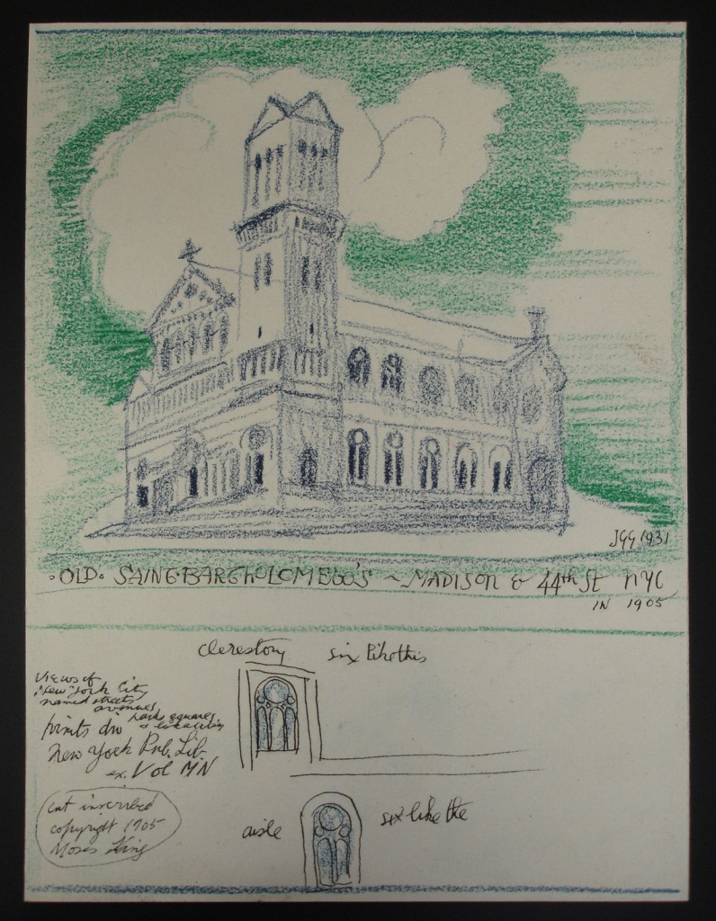 "Sketch is of St. Bartholomew's as it stood at the Madison and 44th Street location. The church itself is sketched with blue crayon and the sky, save for a white cloud, is in green. Two small images are featured below, one of a clerestory window and the other of an aisle window; each window is in blue crayon and black ink. Text is written on lower left corner in black ink. Signed by artist ""JGG 1931"". Rough sketch in red crayon on verso. St. Bartholomew's was first established in 1835 at the corner of Great Jones Street and Lafayette Place. Its second location, the one pictured in this sketch, was designed by architect James Renwick and built between 1872 and 1876. In 1902 and 1903, the structure was enhanced with a triple French Romanesque portal, featured in this drawing. The portals were a memorial to Cornelius Vanderbilt II. The current location of St. Bartholomew's, at Park Avenue between 50th and 51st Street, was built in 1916 and 1917. J. Gordon Guthrie was a stained glass designer of American churches of the early 20th century. Guthrie apprenticed at his father's studio in Glasgow, Scotland before moving to New York City. He worked for several years with Louis Comfort Tiffany and later with Duffner & Kimberly, Henry Wynd Young and George Durhan & Sons Glass Works. This design was probably created during a period that Guthrie was working for himself. Guthrie was a purist in stained glass tradition and was especially interested in 15th century style."