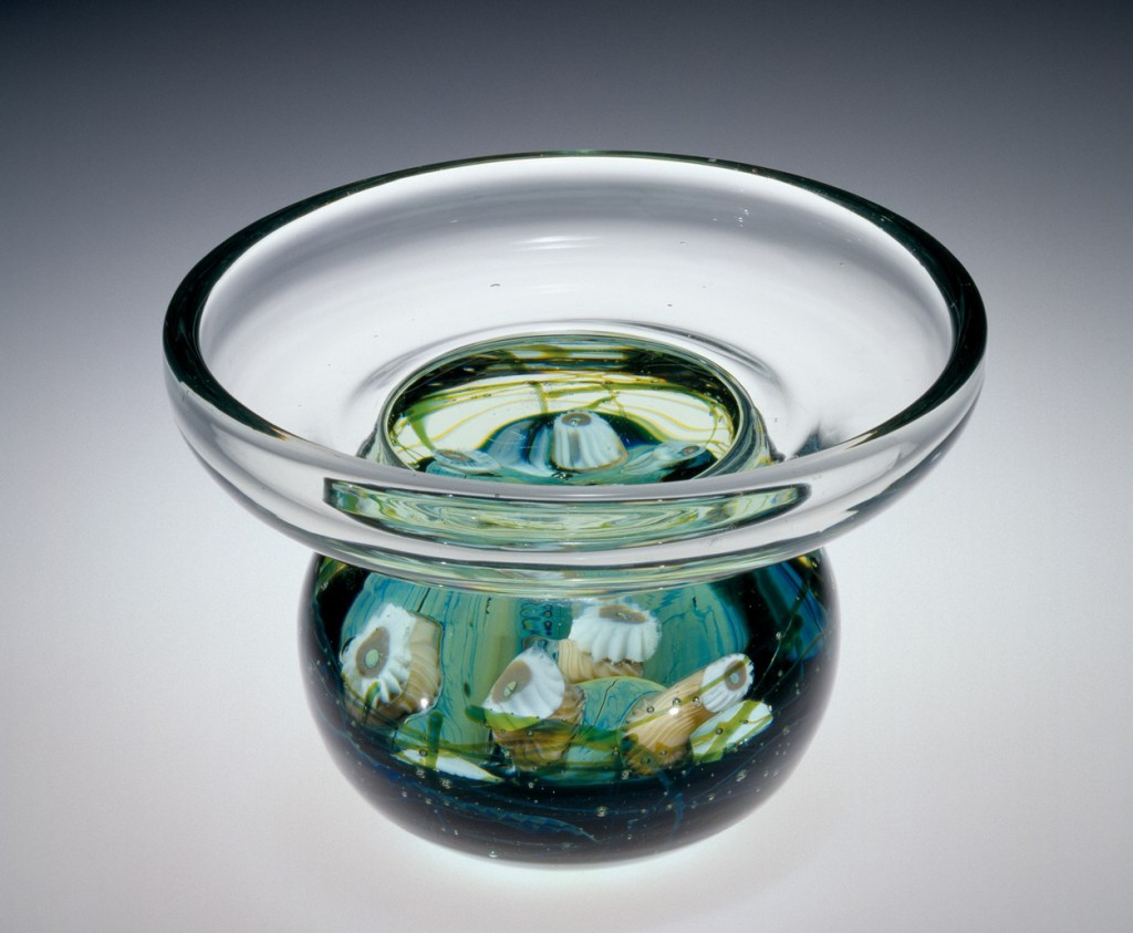 Favrile Aquamarine Paperweight Vase with Sea Life, Tiffany Studios, about 1911-1912. Bequest of Ellen D. Sharpe (54.4.6)