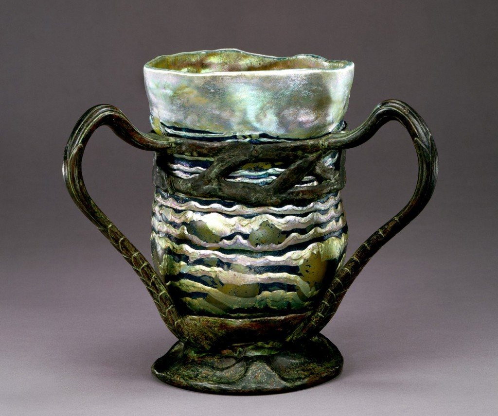 """Lava"" Vase with Bronze Mount, Tiffany Furnaces, about 1904-1906. (86.4.14)"