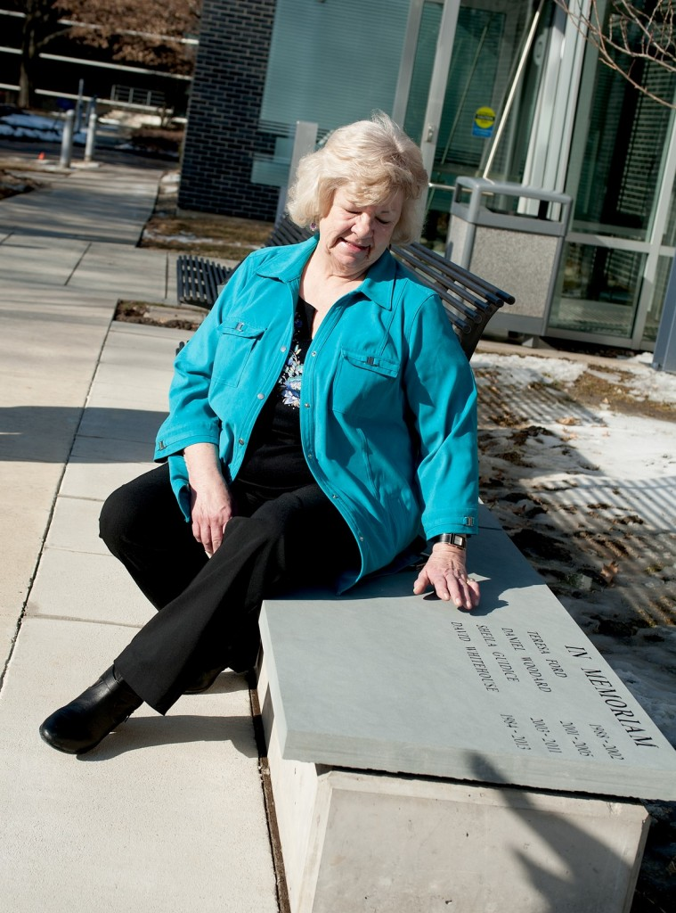 Ann Capawana, mother of Sheila Guidice, at the dedication of the new memorial terrace.
