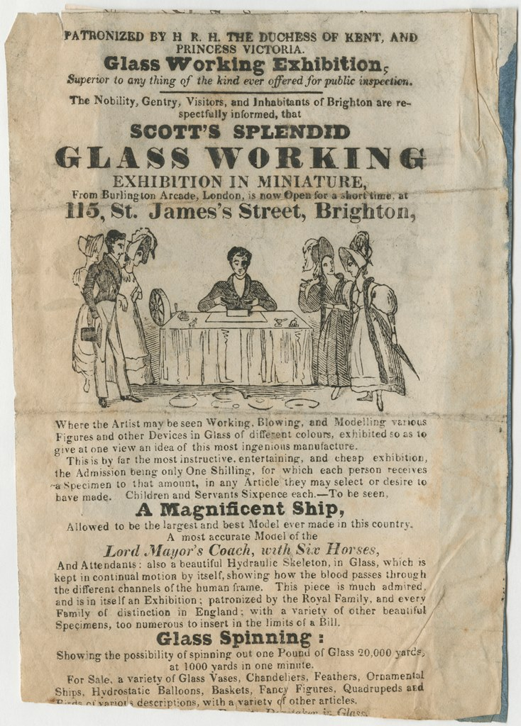 Scott's splendid glass working exhibition in miniature [handbill], CMGL 138463