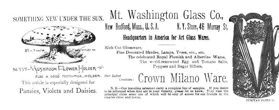 "Mt. Washington advertisement for ""Mushroom Flower Holder"" from Crockery & Glass Journal, April 23, 1891, p. 38."