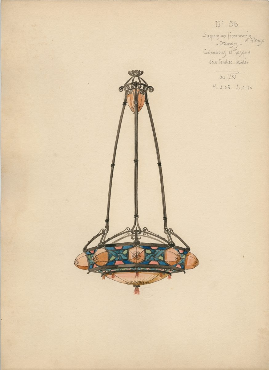 Art nouveau watercolor designs for lamps and lighting for Art nouveau lighting fixtures