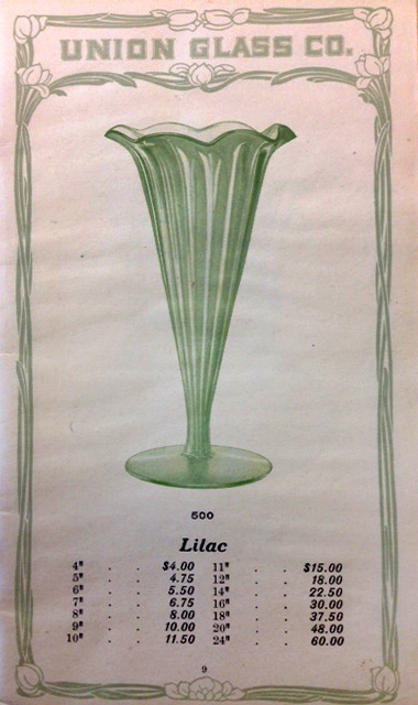 Union Glass Company, Catalog of Vases, ca. 1900, p. 9 (Rakow TC 54983)