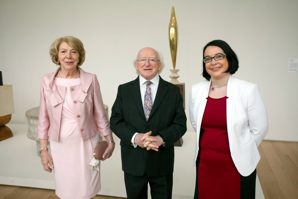 President Michael D. Higgins and his wife Sabina Coyne with curator Audrey Whitty (right).