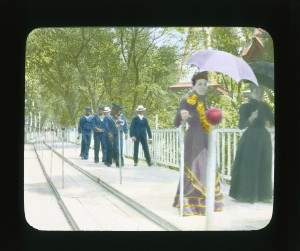 """Paris Exposition: moving sidewalk, Paris, France, 1900"", 1900. Lantern slide, Brooklyn Museum, Goodyear Collection."