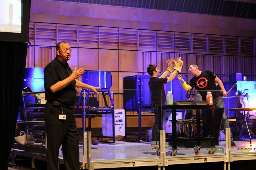 John Ford translating the Hot Glass Show into Mandarin Chinese with narrator Ryan Doolittle and gaffer, Aaron Jack.