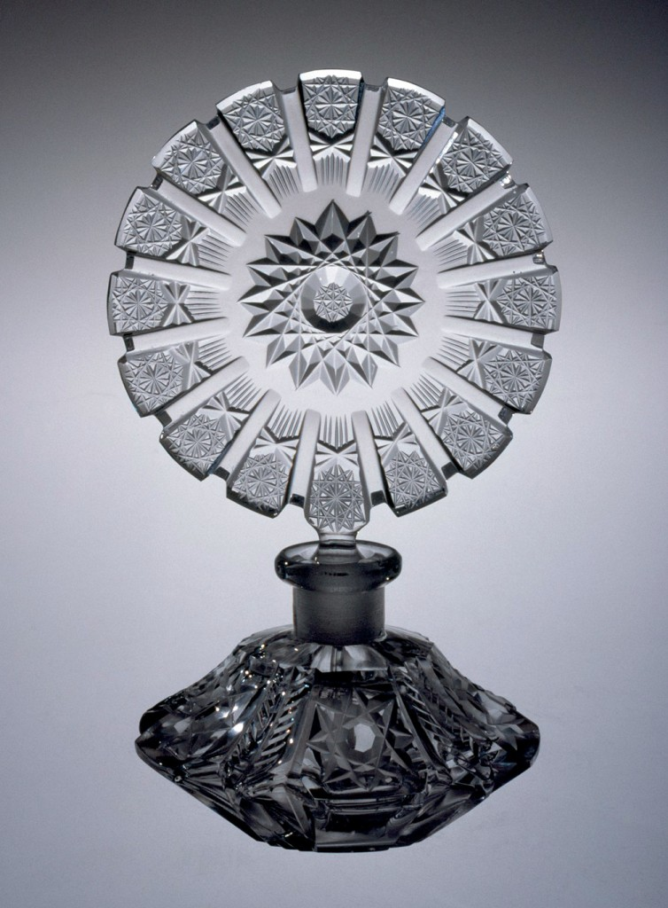 Perfume Bottle with Stopper, cut glass. Czechoslovakia, 1950-1960. H: 16.4 cm. 74.3.175, gift of Mrs. Anna Fern Sherwood.