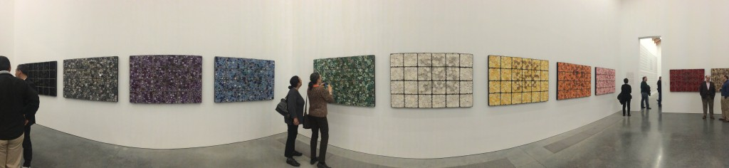 The central core of the exhibition is a series of 12 large sculptures, each consisting of 24 handmade boxes, installed on the walls in their own individual grids.