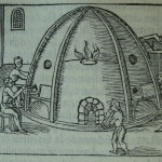 Illustration of glassblowers working at a furnace, from De la pirotechnia