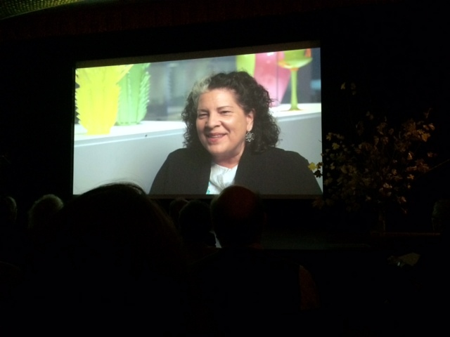 Tina Oldknow's interview plays during the ceremony