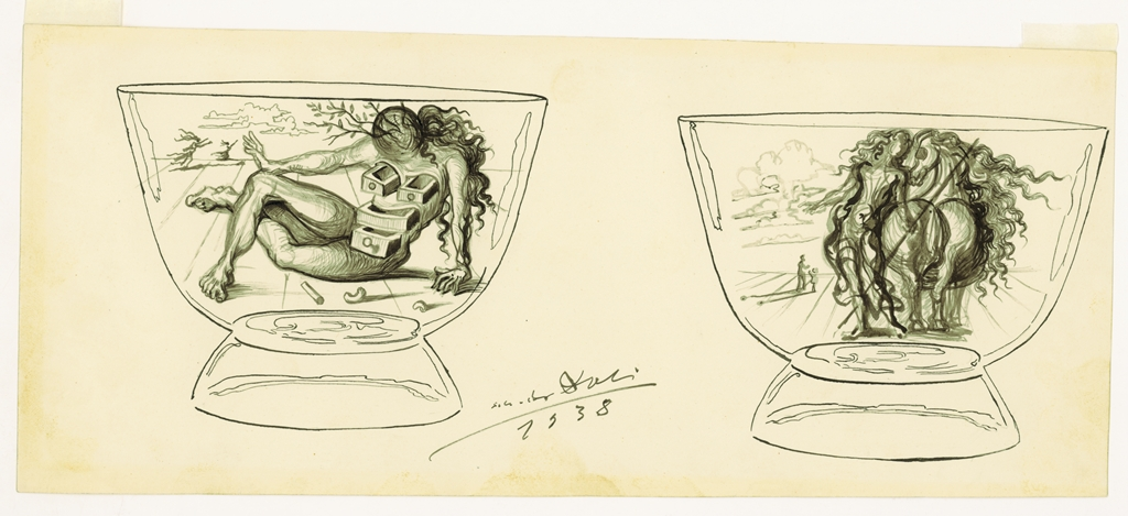 Drawing Of Vase With Nude Salvador Dali Collection Of The Rakow