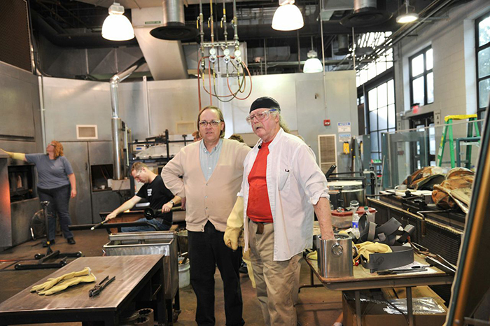 Dr. Glen Cook pictured with artist Albert Paley
