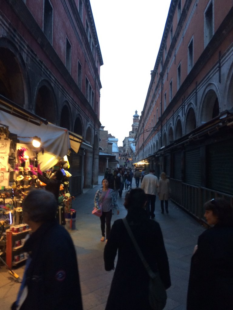 A quick shot as we raced through Venice, across the Rialto Bridge towards dinner.