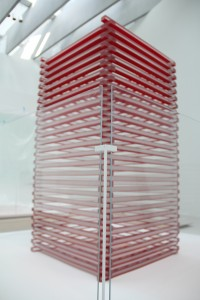 Gorilla Glass enclosure around Glass Sticks by Jun Kaneko.