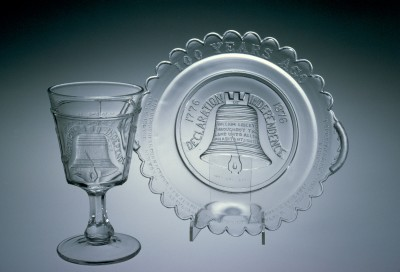 """Plate and Goblet in """"Liberty Bell"""" Pattern, Adams & Company, Pittsburgh, PA, 1876. 55.4.1."""
