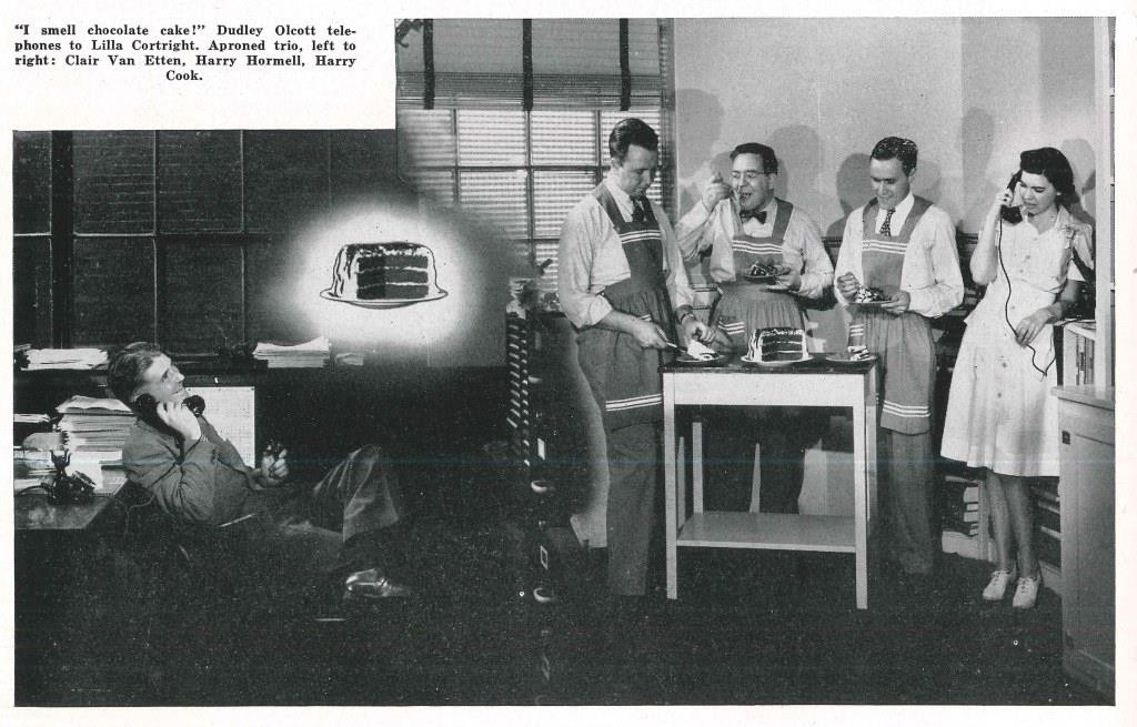 Dudley Olcott, Clair Van Etten, Harry Hormell, Harry Cook, and Lilla Cortright. Photography by Ayres Stevens, Corning Glass Works Gaffer, October 1946.