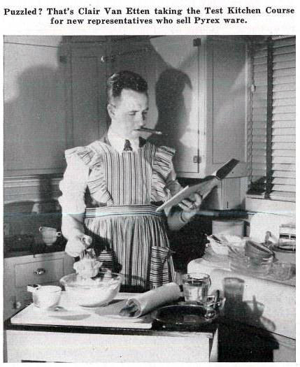 Clair Van Etten taking the Test Kitchen Course. Photography by Ayres Stevens, Corning Glass Works Gaffer, October 1946.