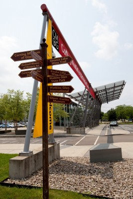 Signpost at The Corning Museum of Glass Welcome Center
