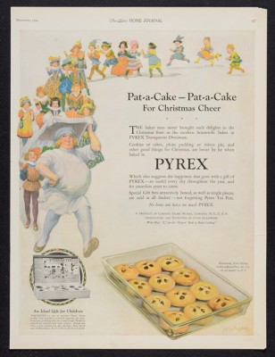 "Original magazine advertisement from the Dianne Williams Collection on Pyrex: ""Pat-a-cake, pat-a-cake for Christmas cheer."" Published in Ladies' Home Journal, December 1924. CMGL 140283."