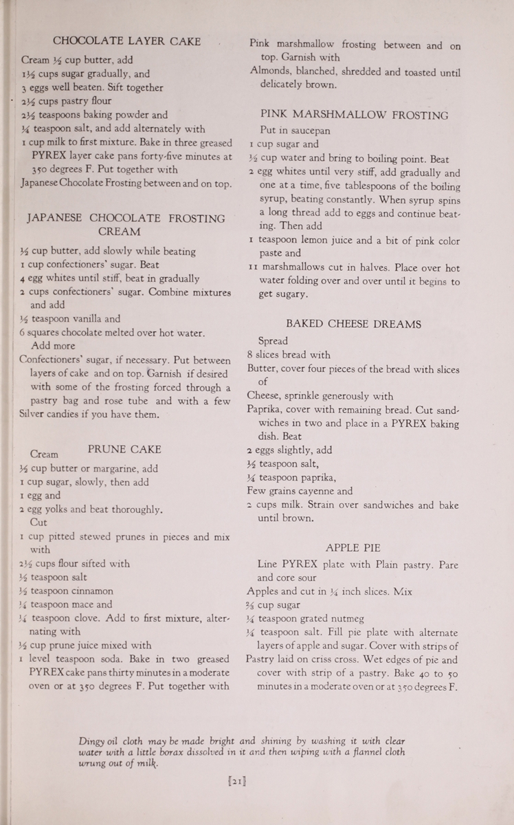 Dessert Recipes from the Pyrex: experts book on better cooking. Corning Glass Works, c1924. CMGL 129395.
