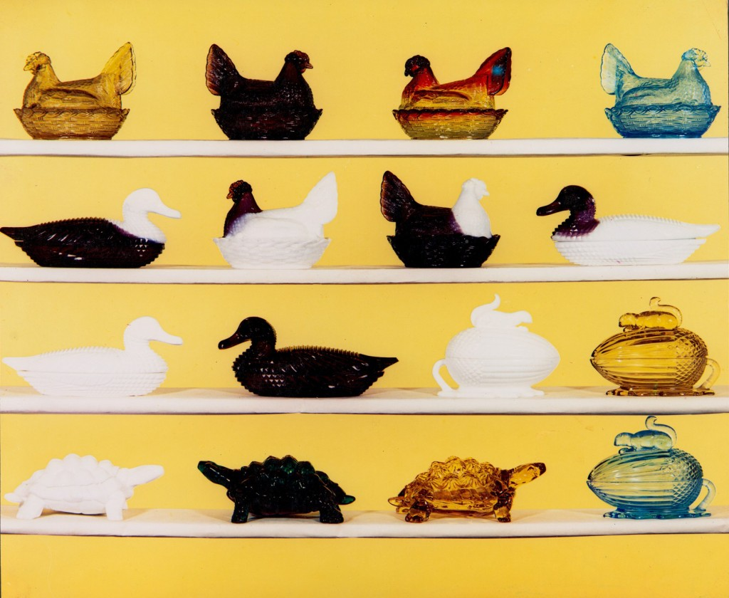 Hens on nest, ducks, and acorn and squirrel pressed glass candy boxes from L. G. Wright pressed glass animals display. Part of the James Measell Collection of L. G. Wright Glass Company Materials, about 1930–1969. Six boxes. CMGL 141678 (collection) CMGL 142617 (photo), purchased with funds from the Fellows Fund.