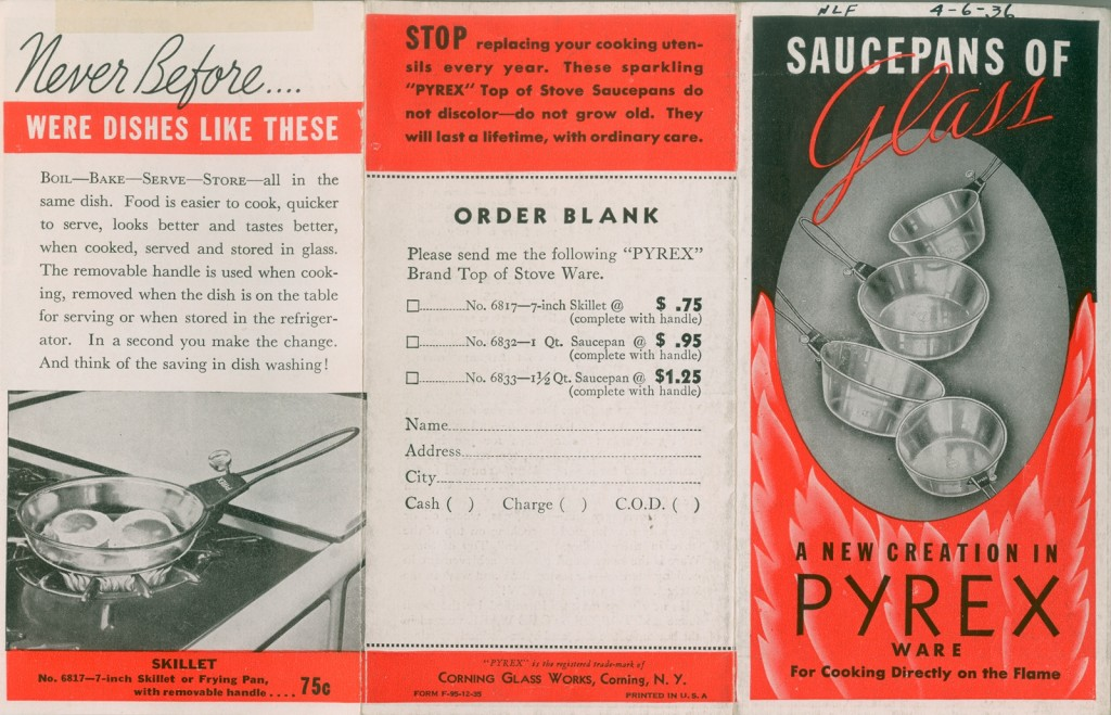 Saucepans of glass: a new creation in Pyrex ware for cooking directly on the flame, Corning Glass Works, 1935. Gift of World Kitchen, LLC. CMGL 92026.