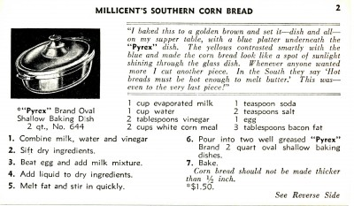 """Millicent's Southern Corn Bread."" Recipe Cards, Corning Glass Works, 1936. From the Dianne Williams collection on Pyrex, Box 3, Folder 1. CMGL 119626."