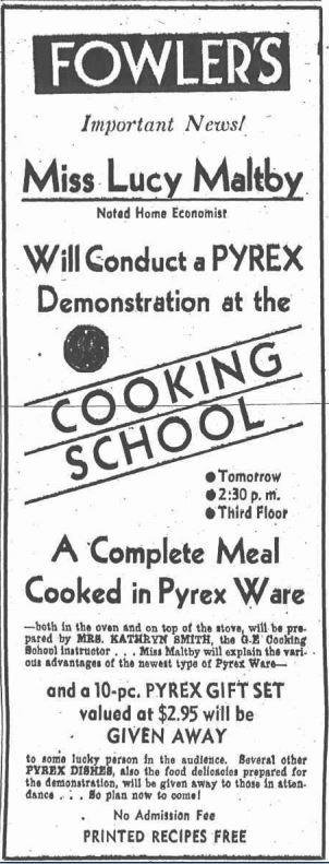 Advertisement for a cooking demonstration. Binghamton Press, April 21, 1936. Courtesy of Old Fulton NY Post Card Website.